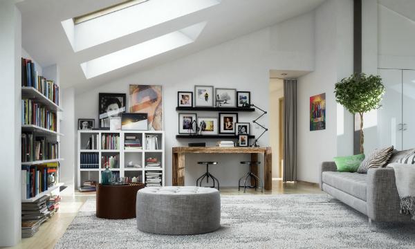 Dachapartment mit Gemälden