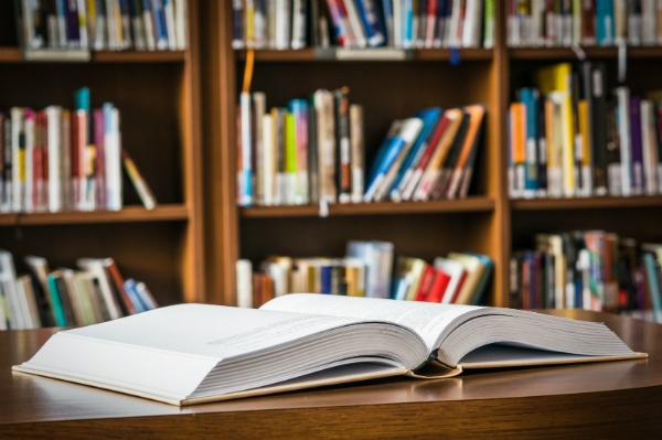 Buecher in einer Bibliothek