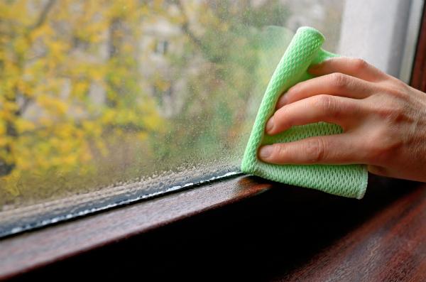 Reinigung von Wasserkondensat am Fenster