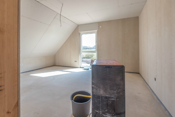 Rohbau Fertigteilhaus mit Bautrockner