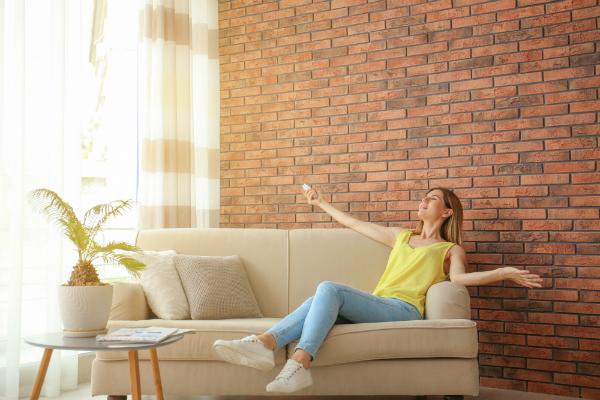 Glueckliche Frau mit Fernbedienung zur Regulation der Lufttemperatur