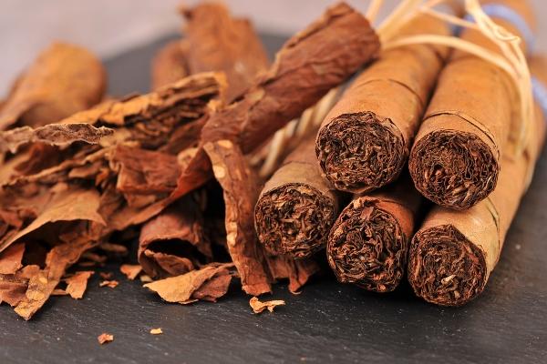 Trockene Tabakblaetter und Zigarren